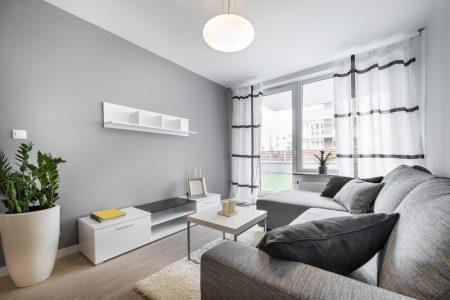 Color de cortinas para paredes grises.