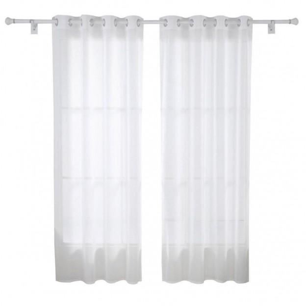 Cortina de sal n moderna con anillas en blanco cortinas for Anillas de cortinas