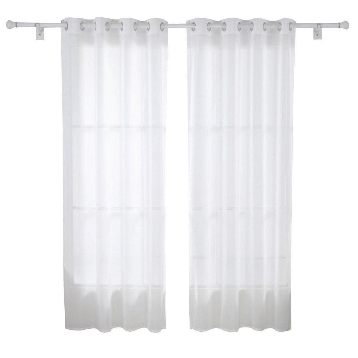 Cortina de sal n moderna con anillas en blanco cortinas for Cortinas en blanco