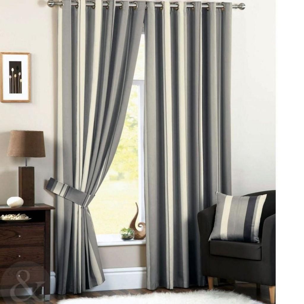 Cortinas de salón modernas a rayas gris y crema – Cortinas de