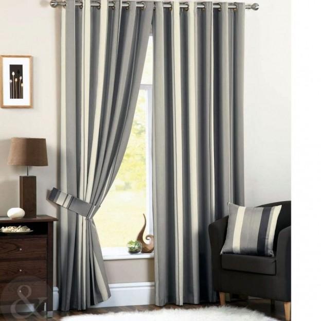 cortinas de sal n modernas a rayas gris y crema cortinas