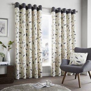 Cortinas de salón modernas color gris y beige