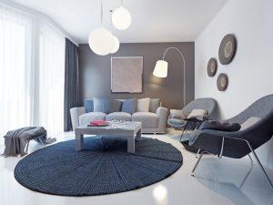Color de cortinas para paredes grises
