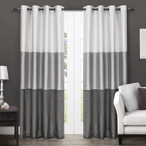 cortinas de saln blanco y gris - Cortinas Salon
