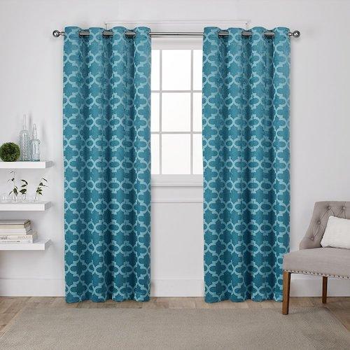 Cortinas de diseño azul turquesa | Cortinas de salón modernas
